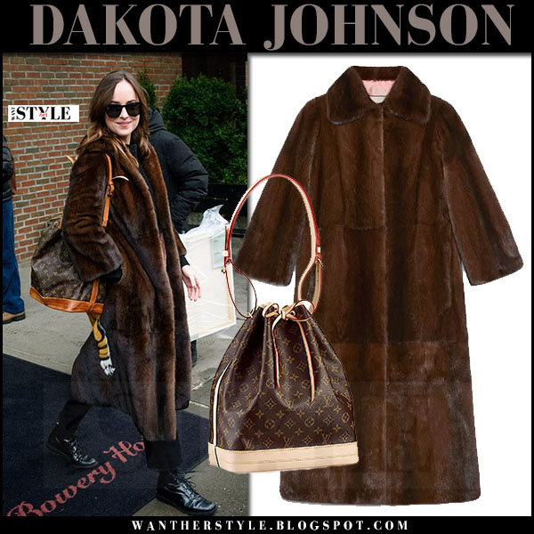 Dakota Johnson in brown fur mink gucci coat with brown monogram louis vuitton noe what she wore