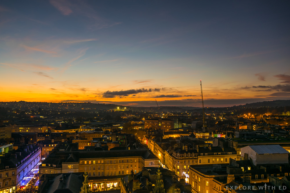 Birds eye view of Bath at Sunset