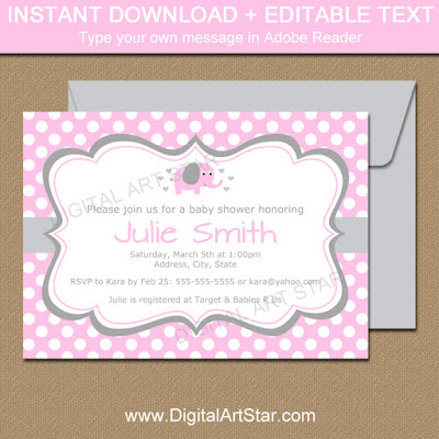 Pink Elephant Baby Shower Invitation Template with Polka dots