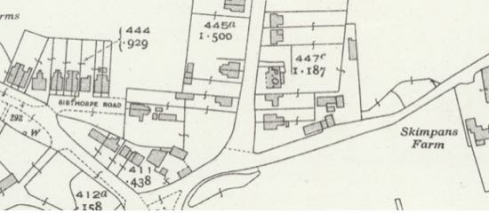 Screen grab of 1939 25 inch OS map showing location of Post Office