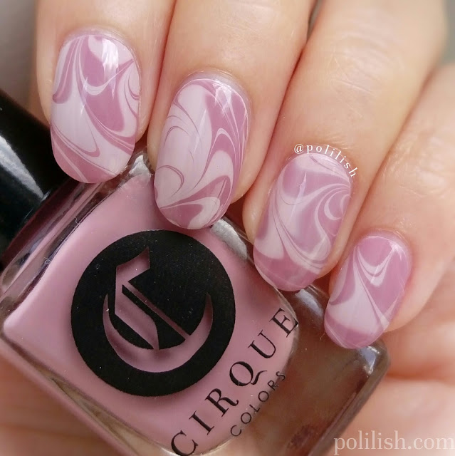 Pink swirly watermarble featuring Cirque Colors Metropolis cremes | polilish