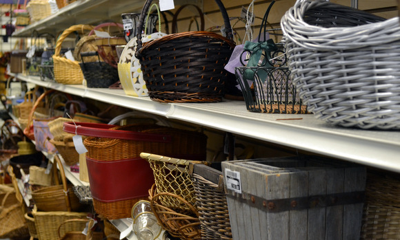 Baskets on shelves at New Uses