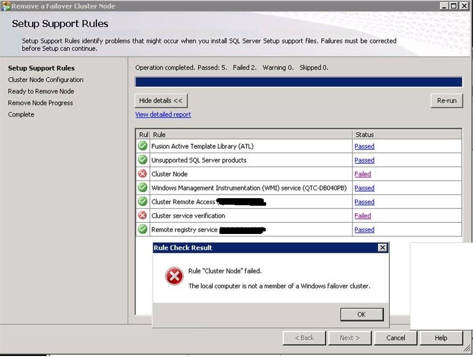DBA WORLD: SQL Server Cluster Uninstall Failed- rule