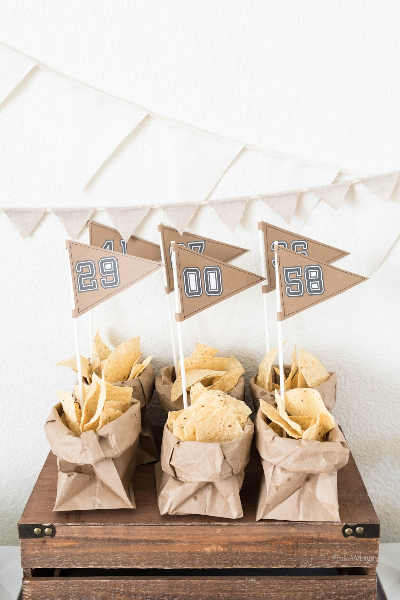 football party food ideas, football flag tutorial, pennant, football diy crafts, football party, birthday, tailgating, party food ideas, man food, man party, sports party, vintage, kraft burlap white theme, brown white,
