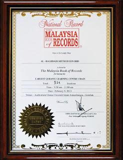 Pengiktirafan oleh The Malaysia Book Of Records