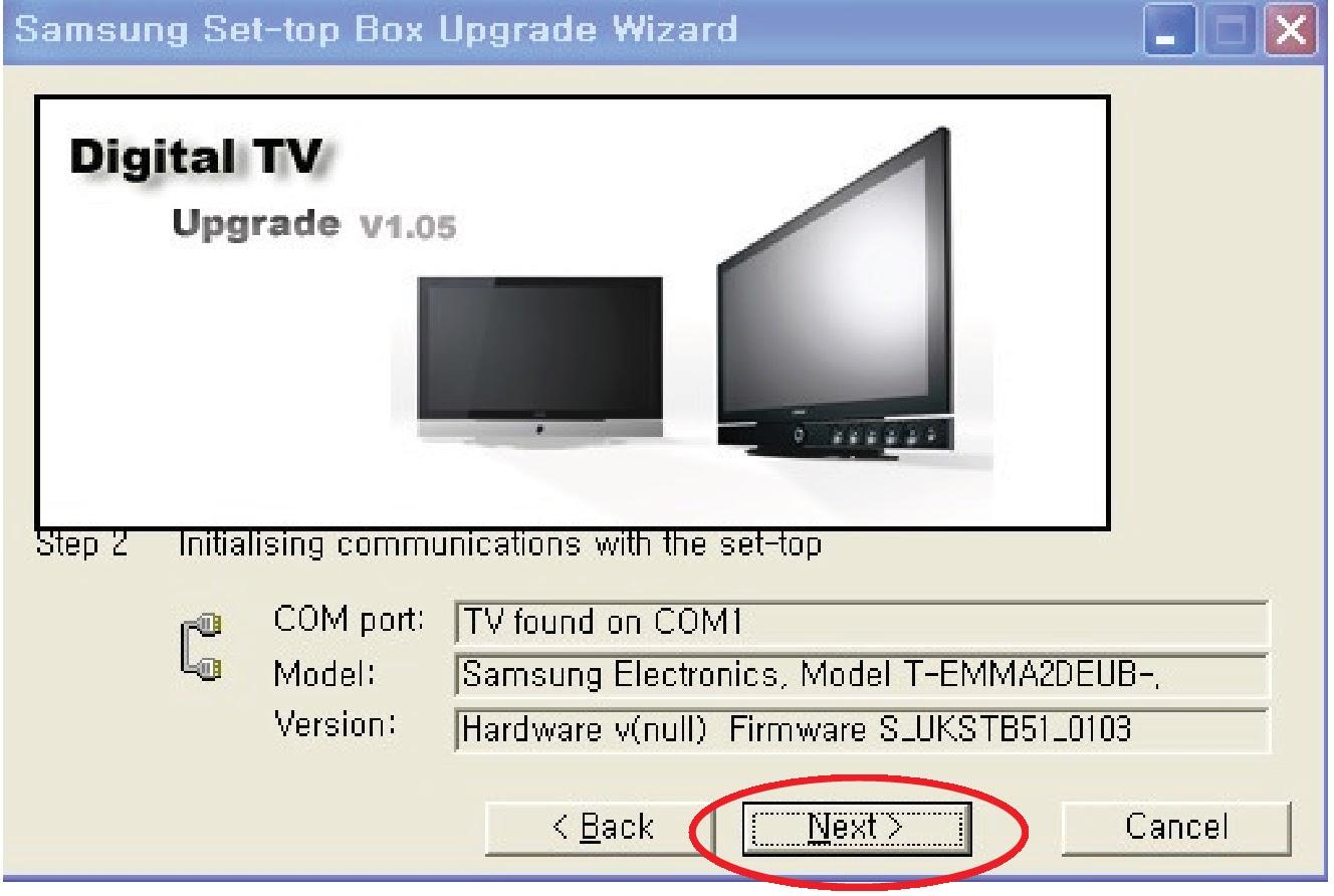 "After scanning COM port, Model, and Version, click ""Next""."