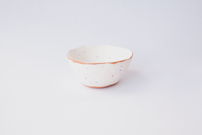rainbow polka dot ceramic clay bowl