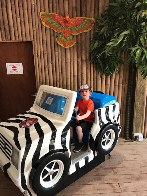 Little boy sitting in a kids ride on jeep