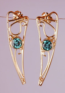 Tourmaline earrings made in Cambridge MA