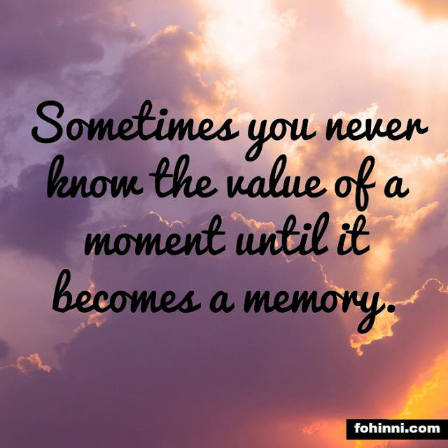 Sometimes You Never Know The Value Of A Moment Until It Becomes A Memory. best family quotes