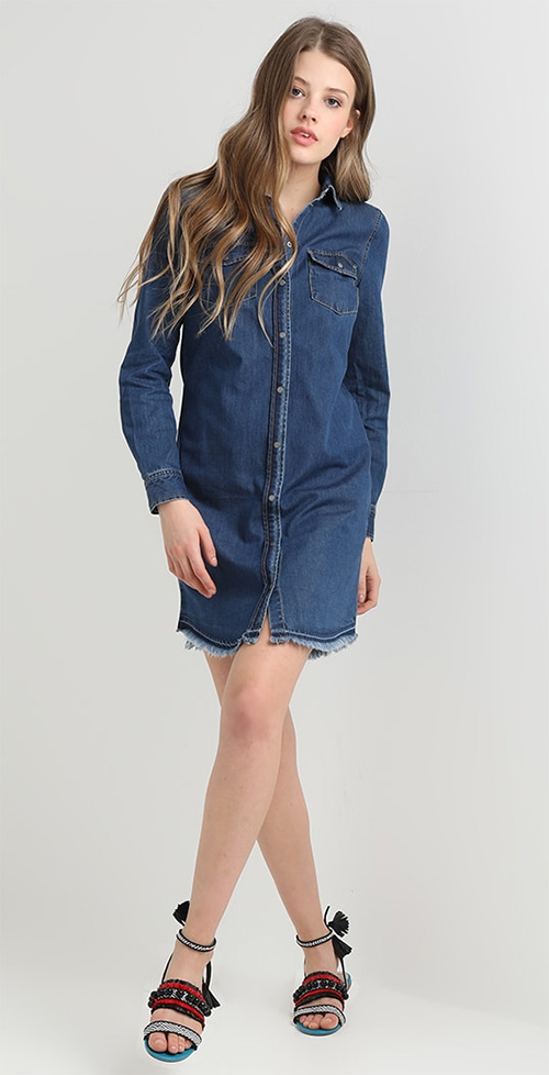 Robe chemise en jean bleu Only