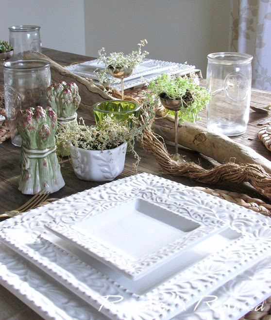 Summer centerpiece ideas with white dishes and plants.