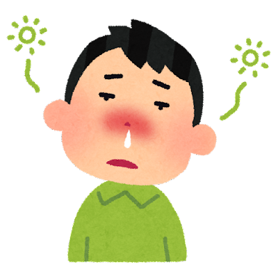 鼻づまりでボーっとしている人のイラスト(花粉症)