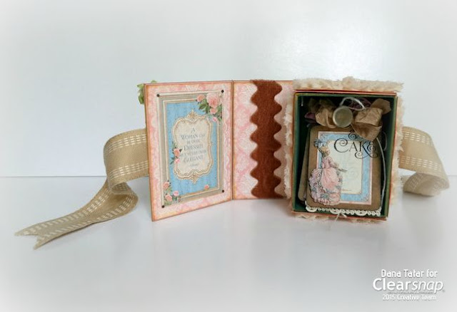 Graphic 45 Gilded Lily ATC Book Box Inside by Dana Tatar for Clearsnap