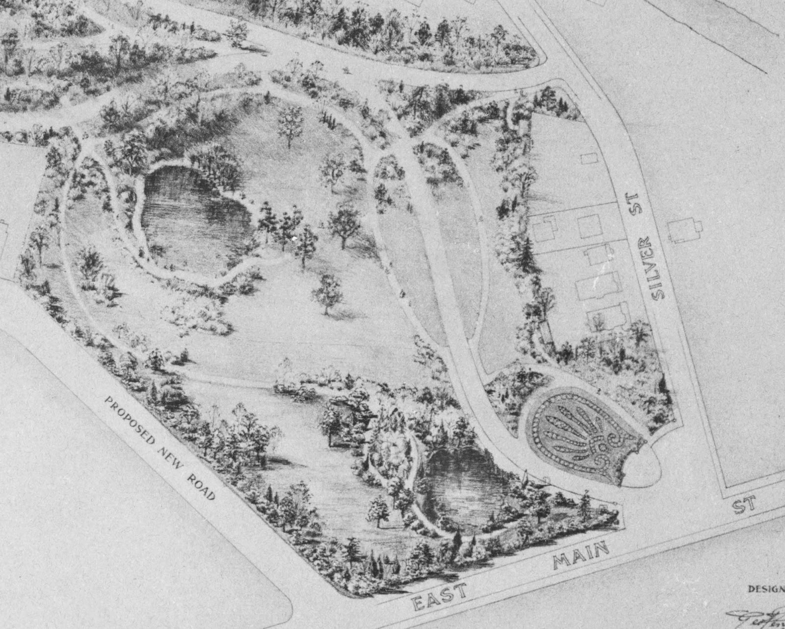 detail of the original landscape plan for hamilton park copy in the collection of the mattatuck museum