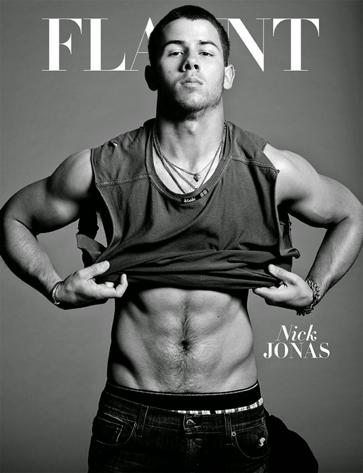 nick jonas abs for flaunt