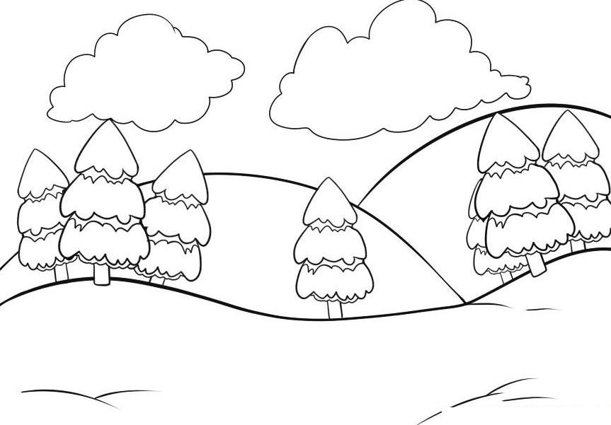Gambar Mewarnai Pemandangan Gunung Terbaru Belajar Mewarnai Dan