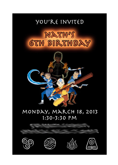 Avatar: The Last Airbender Birthday Party Invitation