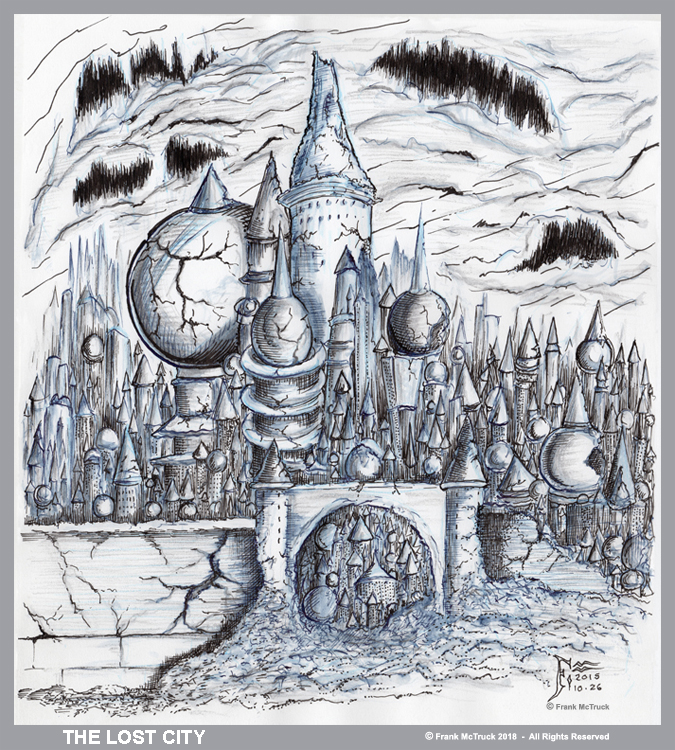Frank McTruck pencil and ink sketch 'The Lost City'