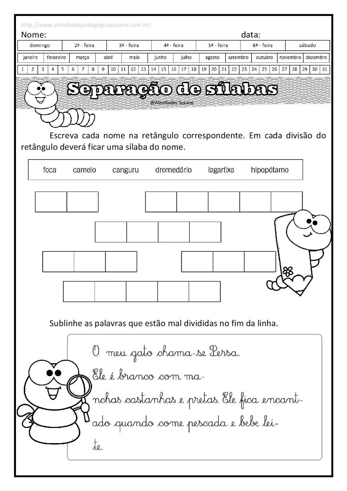 Separacao De Silabas Atividades Atividades Pedagogicas E
