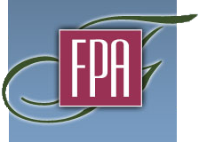 "A slightly rectangular logo, a medium blue square in the background, a forest green cursive F extending off the right and left edges, and a lavender square with ""FPA"" in all caps in white"