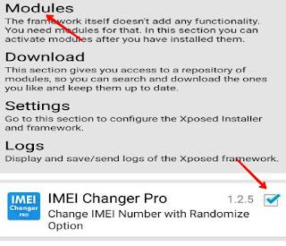 Modules me Jake imei changer pro app ko activate Kare
