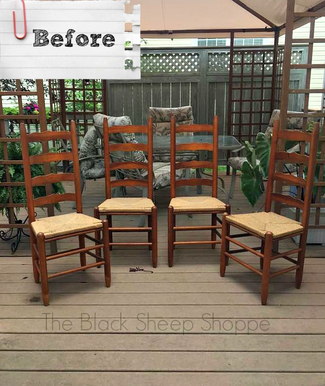 Vintage ladder back chairs before painting