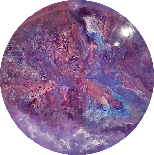 purple abstract circle resin art painting by HalfBakedart 2018