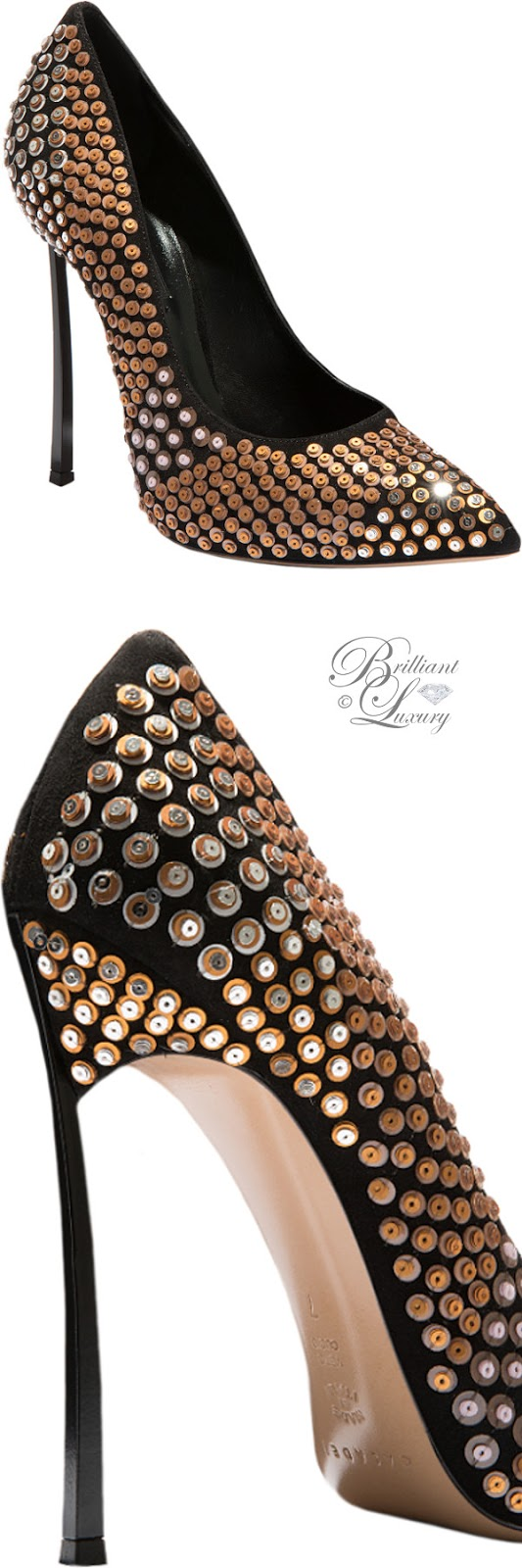 Brilliant Luxury ♦ Fall in ~ Casadei Blade high heels with metal studds