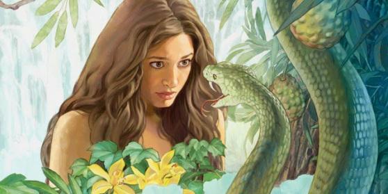 Ева, първата жена от Библията, разговаря със змия