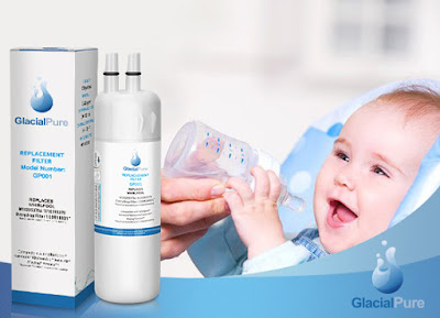 A baby is fed with water filtered by GlacialPure water filters