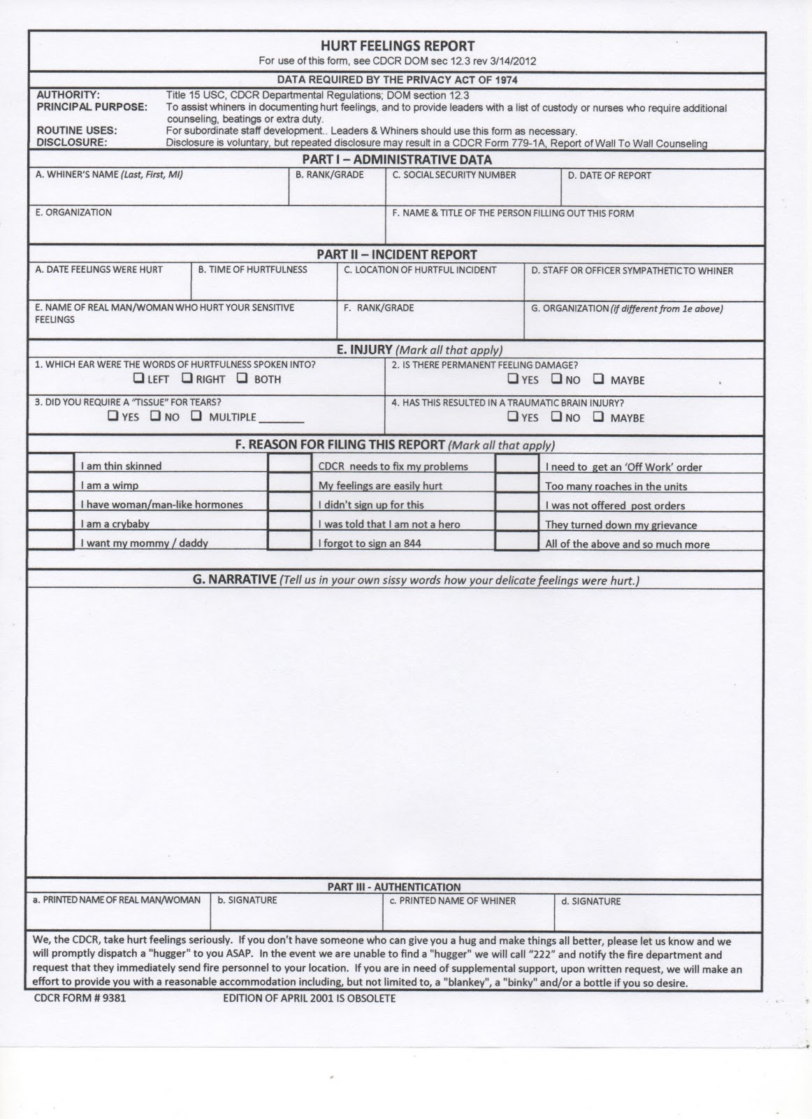 Hurt feelings form for Hurt feelings report template