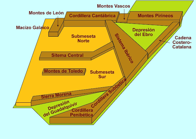 Resultado de imagen de mapa físico de la península ibérica