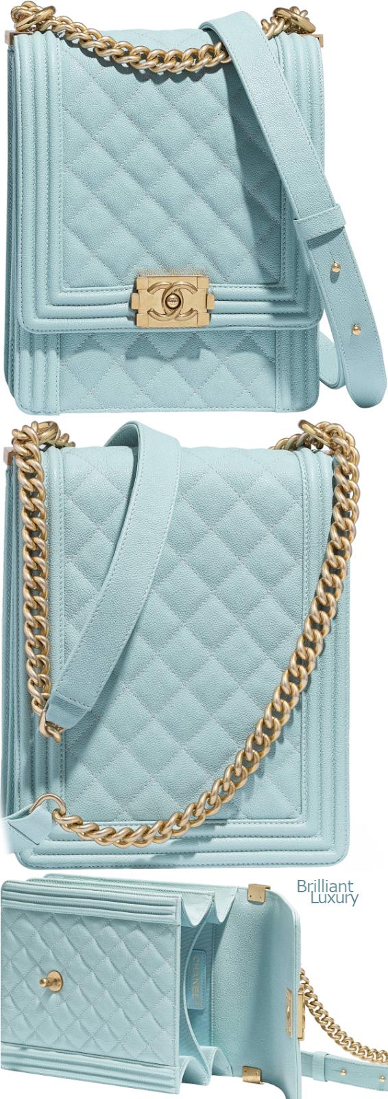 Brilliant Luxury♦Chanel Boy handbag light #blue