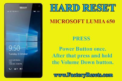 hard reset  Microsoft Lumia 650