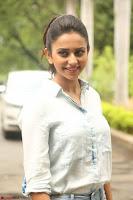 Rakul Preet Singh in Jeans and White Shirt At Jaya Janaki Nayaka le Logo Launch ~  Exclusive 015.JPG
