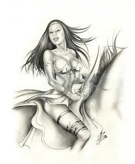 Pin Ups Dibujos en Sepia de Mujeres