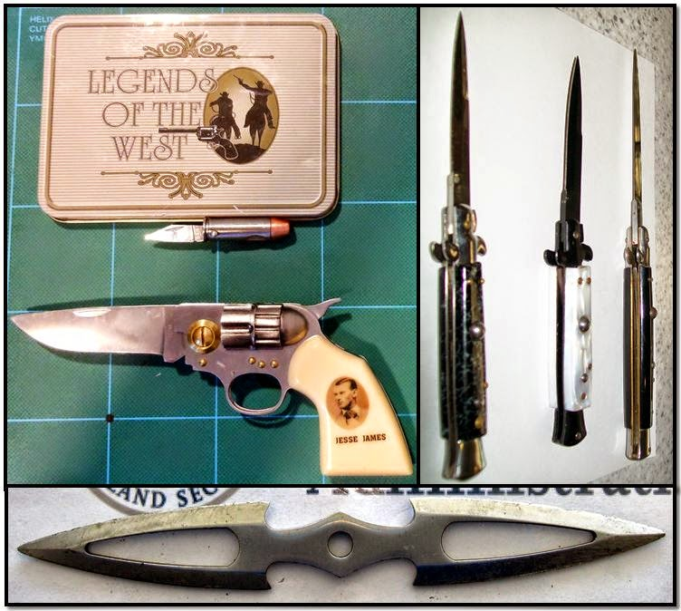 discovered switchblades, throwing knife, gun knife and bullet