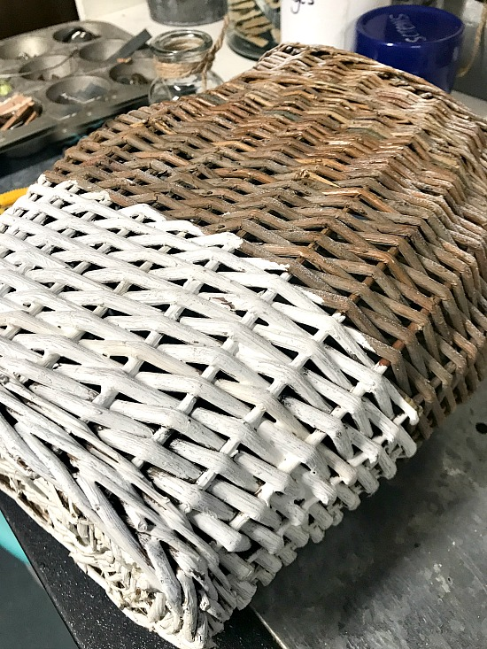 basket with the bottom painted white
