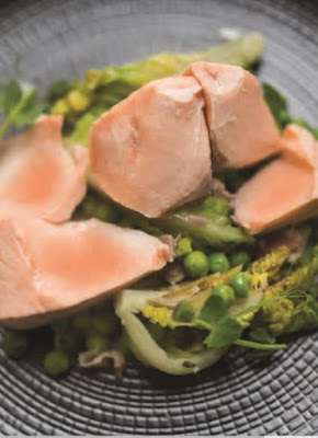 Poached Salmon With Braised Lettuce Peas + Bacon