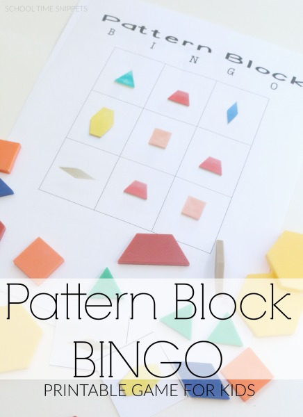 graphic about Printable Pattern Blocks known as Routine Blocks BINGO: Printable Activity for Children College Period