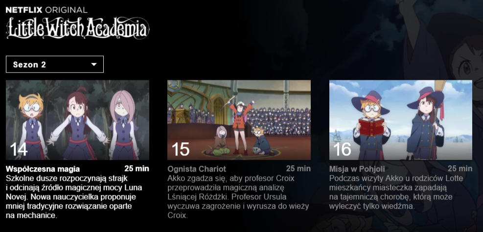 Little Witch Academia - serial z polskim dubbingiem na Netflix