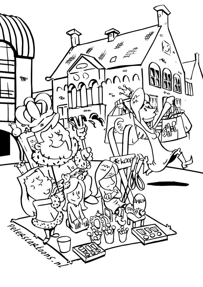 kleurplaat voor koningsdag drunen peterscartoons