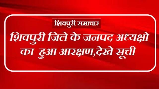 शिवपुरी जिले के जनपद अध्यक्षो का हुआ आरक्षण, देखे सूची | Shivpuri News