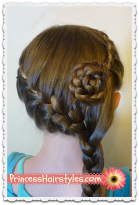 Side swept #frenchbraid #flower video instructions.