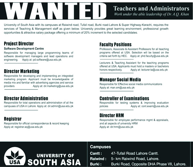 University of South Asia Jobs Teaching Faculty Jobs