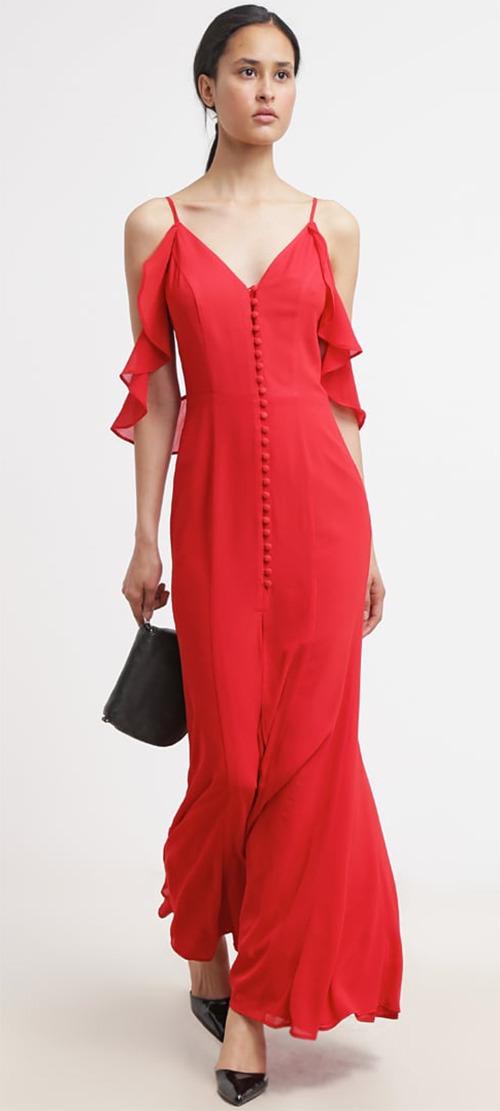 Robe longue rouge fines bretelles Jarlo