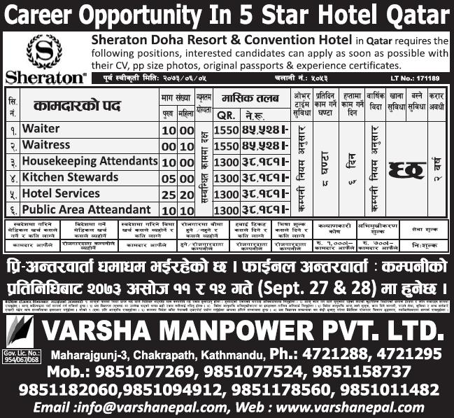 Free Visa, Free Ticket Jobs For Nepali In Qatar Salary- Rs.45,528/