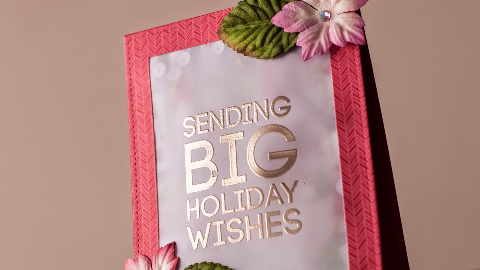 holiday card series - vellum shaker card with poinsettia flowers