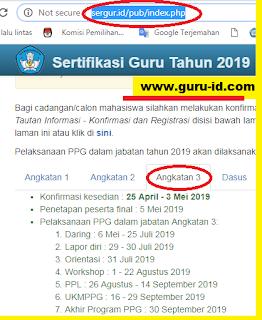gambar jadwal ppg dalam jabatan tahun 2019 tahap 3